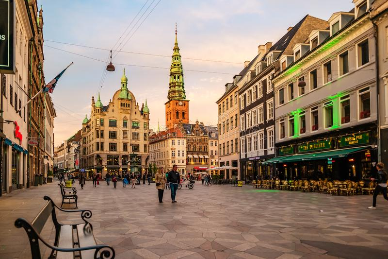 Street life in Copenhagen. Stroget street in the evening stock photography