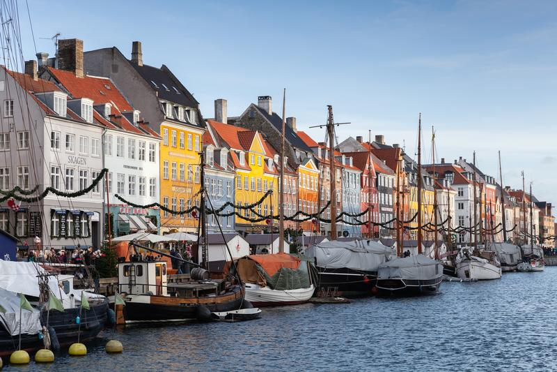 Copenhagen, Denmark, New Harbour view royalty free stock photo