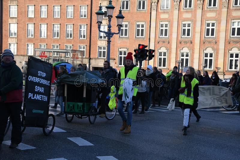 CLIMATE PROTEST MARCH IN COPENHAGEN DENMARK royalty free stock photography