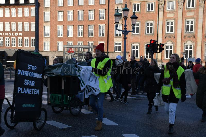 CLIMATE PROTEST MARCH IN COPENHAGEN DENMARK royalty free stock image