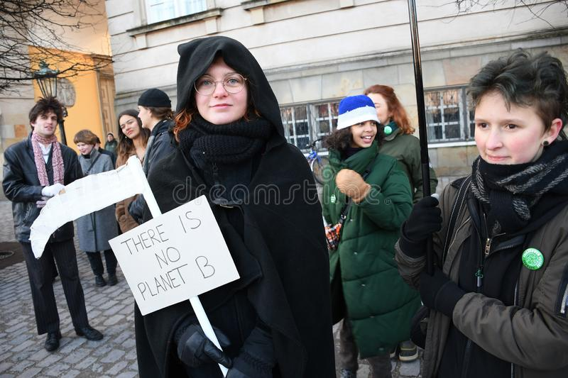 CLIMATE PROTEST MARCH IN COPENHAGEN DENMARK stock photography