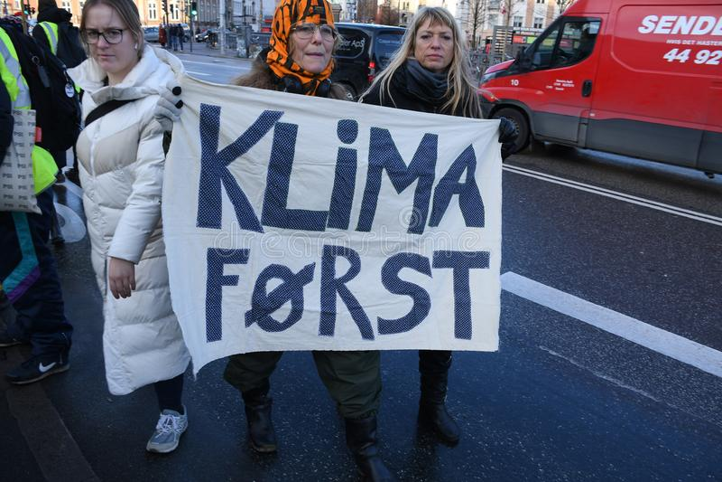 CLIMATE PROTEST MARCH IN COPENHAGEN DENMARK stock photos