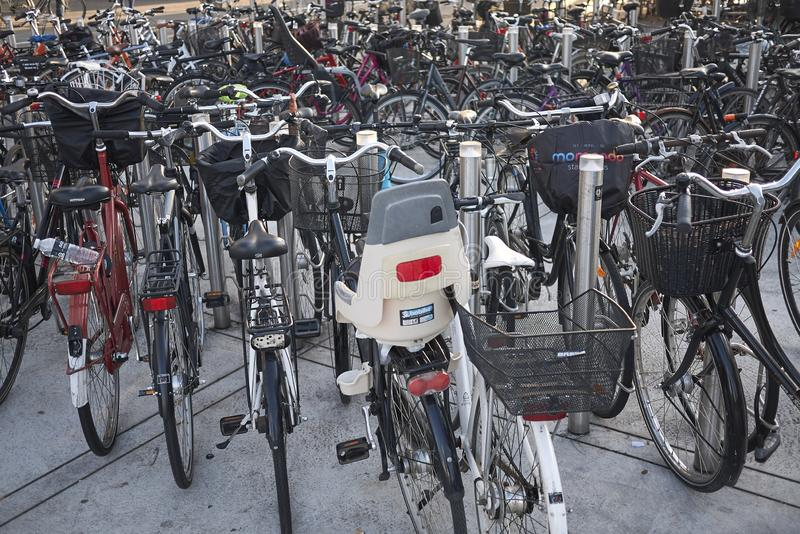 View of a bicycle parking stock image