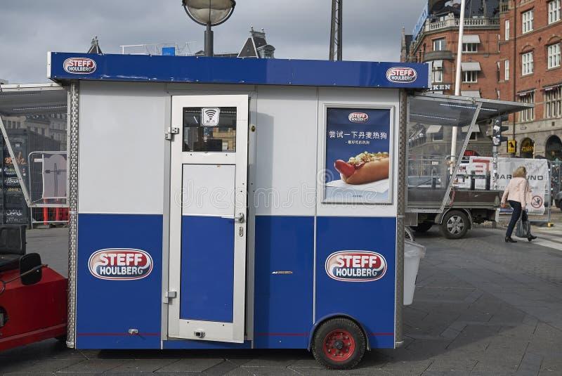 Street food kiosk. Copenhagen, Denmark - October 09, 2018 : Street food kiosk royalty free stock photo