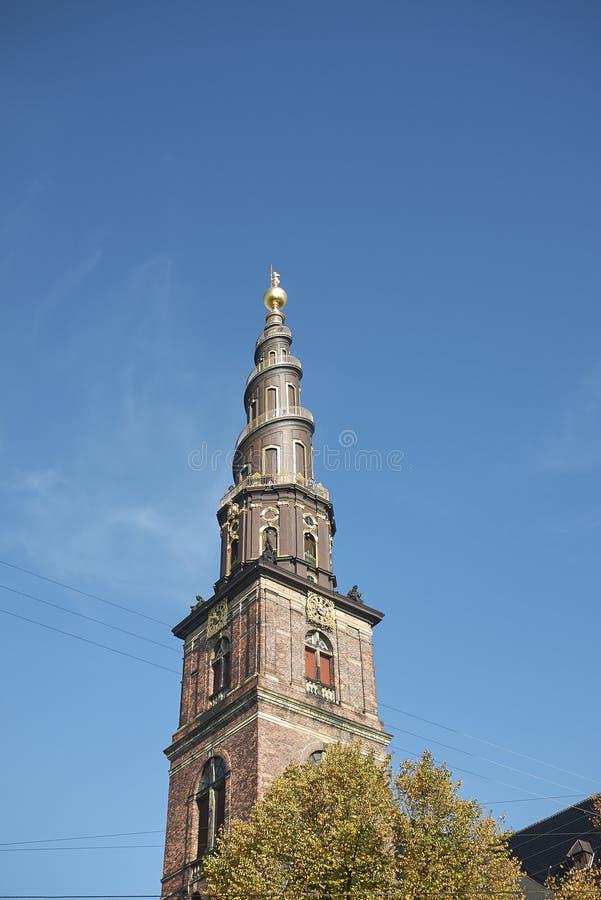 View of Vor Frelsers kirke spire. Copenhagen, Denmark - October 10, 2018 : View of Vor Frelsers kirke spire, our saviour church stock photos