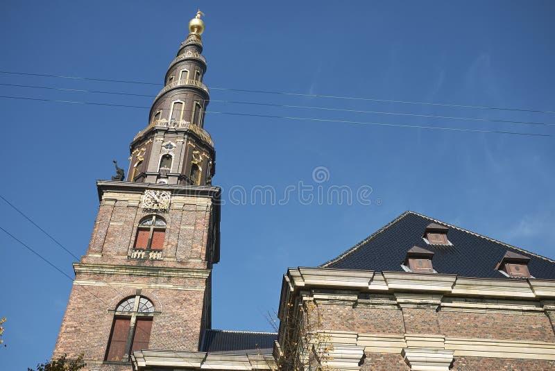 View of Vor Frelsers kirke spire. Copenhagen, Denmark - October 10, 2018 : View of Vor Frelsers kirke spire, our saviour church stock image
