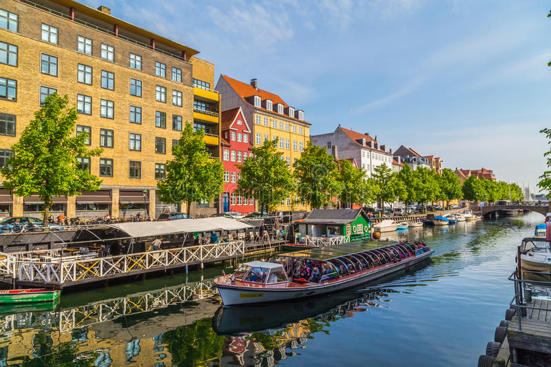 Colourful buildings, boats and canals in Copenhagen stock photos