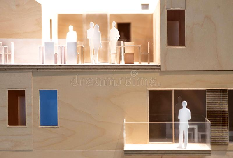 People relations in block builging, wooden and cardboard layout, model of human communication. Style royalty free stock photos