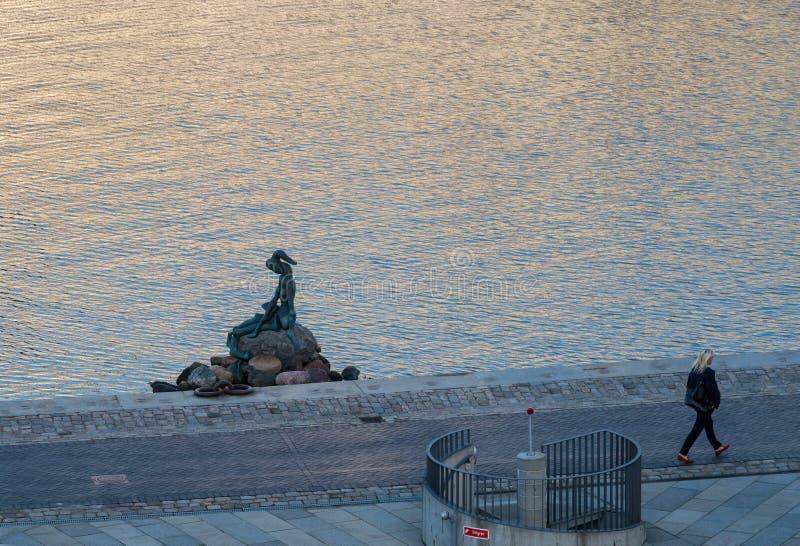 Genetically modified little mermaid in Copenhagen stock photo