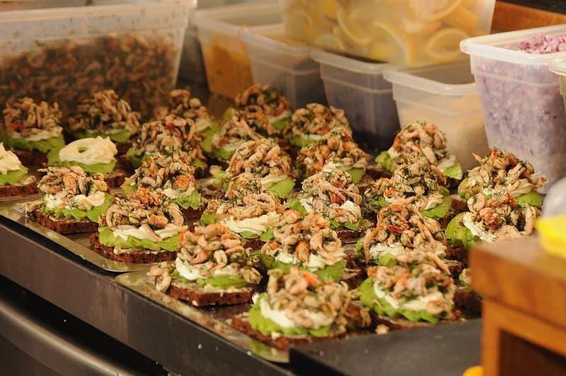 SEA FOOD OPEN SANDIICH. Copenhagen/Denmark 01..September 2018.Sea food sandwich and open sandwich in Copenhagen Denmark. Photo.Francis Joseph Dean / Deanpictures stock images