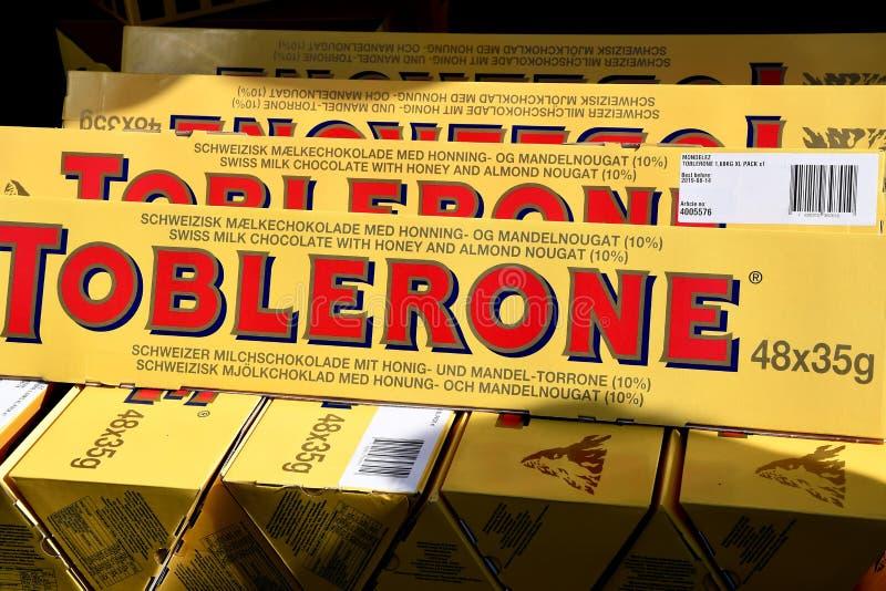 TORERONE CHCOLATE BARS. Copenhagen/Denmark 8th.September 2018. Toblerone choclate bars dansh capital Copenhagen, Denmark stock photography