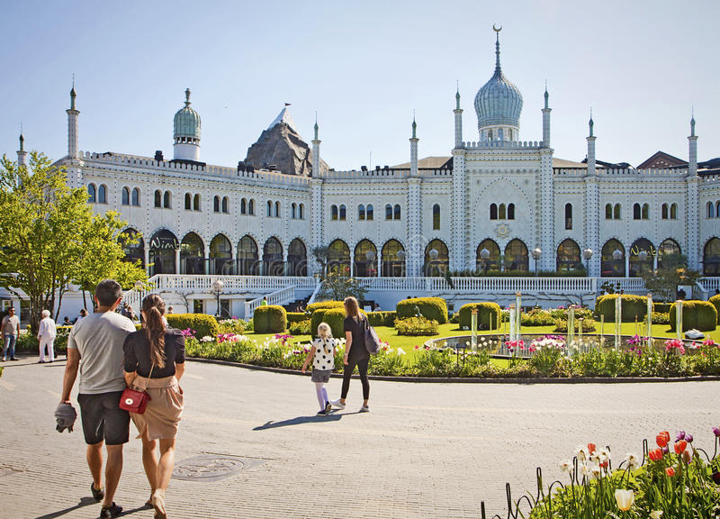 Copenhagen, Denmark: Tourists and Moorish Palace at Tivoli Gardens stock photo
