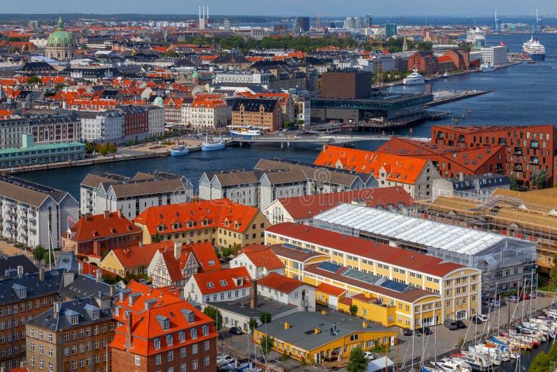 copenhagen flyg- stadssikt royaltyfri foto