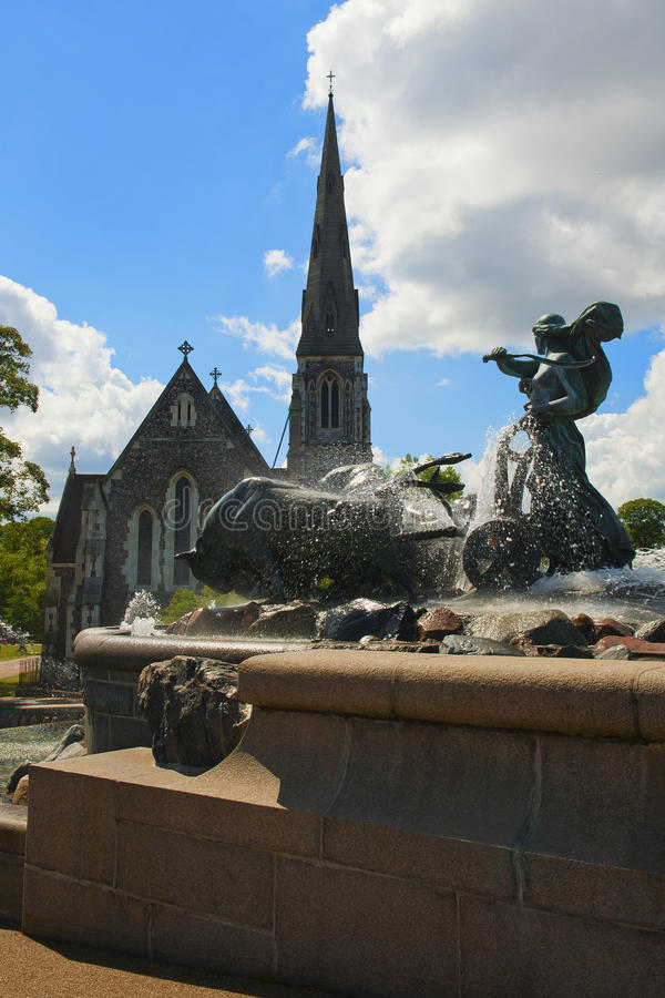 copenhagen fontanny gefion obraz royalty free