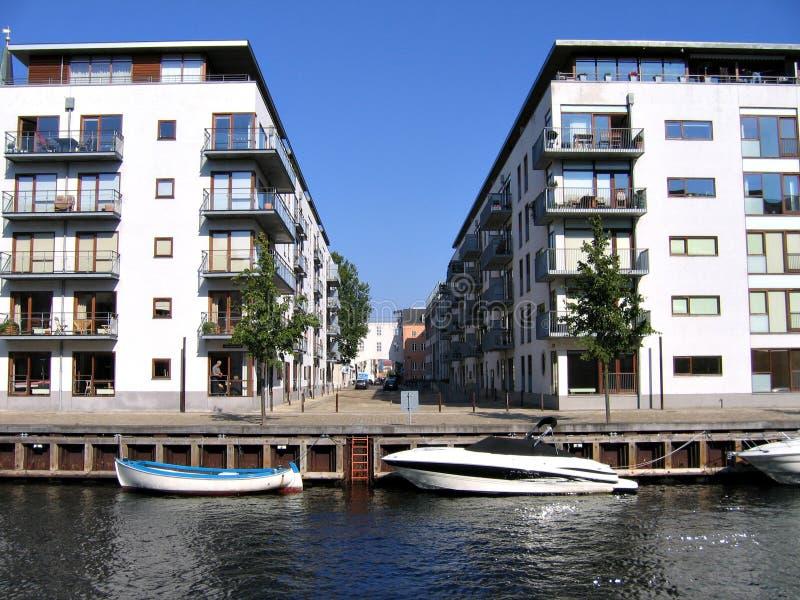 Copenhagen housing area. Copenhagen residential houses in front of the canals stock photos
