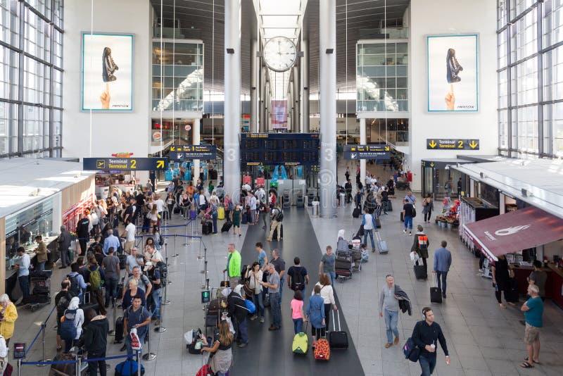 Copenhagen International Airport. Copenhagen, Denmark - August 19, 2016: Check-In hall inside the airport royalty free stock photos