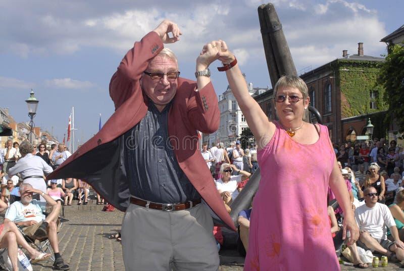 COPENHAGEN JAZZFESTIVAL 09. KØ'ENHAVN/COPENHAGEN/DANMARK /DENMARK. danes dancing at music Copenhagen Jazzfestival 09 to jazz band Zabrass Copenhagen , Hans royalty free stock images