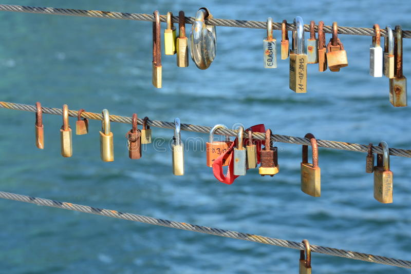 Copenhagen love locks (II) editorial photography. Image of couples ...