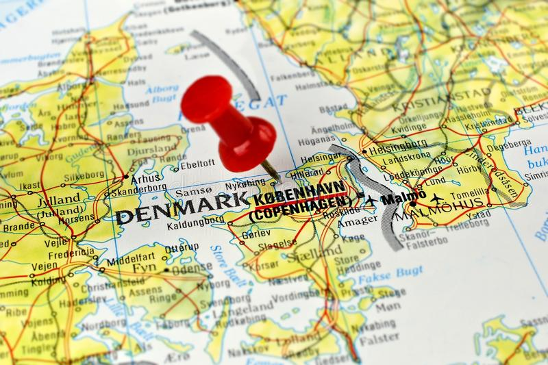 Copenhagen map with pin. Close up of Copenhagen on a map with red pin stock photography