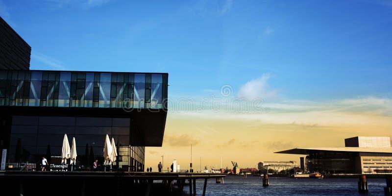 Copenhagen Opera House. Copenhagen central waterfront: Royal Danish Playhouse and Copenhagen Opera House. Architects: Lundgaard & Tranberg, Royal Danish stock photos