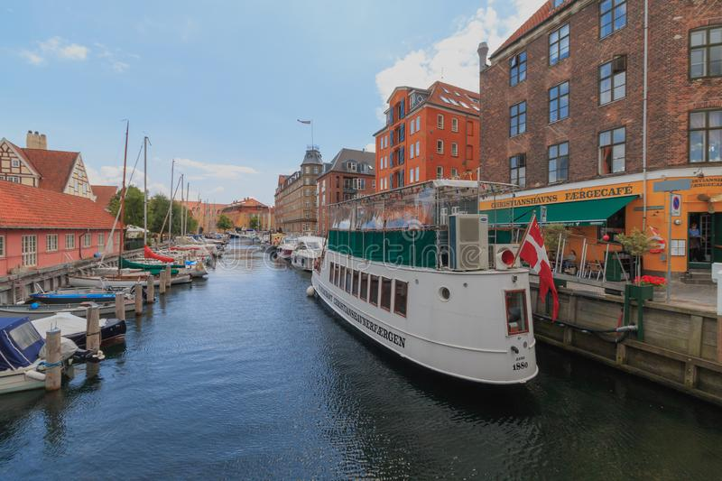 Copenhagen, Zealand Denmark - July 21 2019: Christianshavn canal in Copenhagen, Denmark at summer season stock photos
