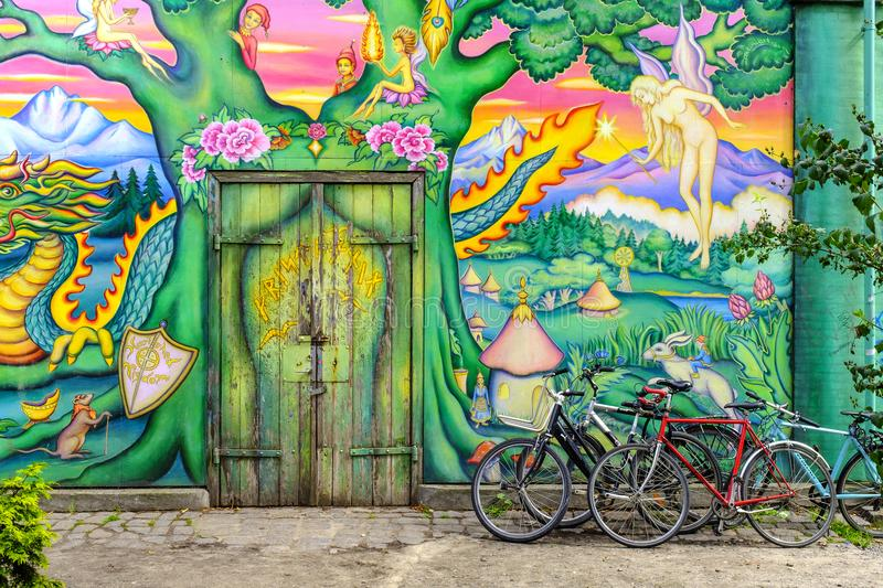 Denmark - Zealand region - Copenhagen - graffiti murals and street art in the Christiania district. Copenhagen, Zealand region / Denmark - 2017/07/26: graffiti stock images