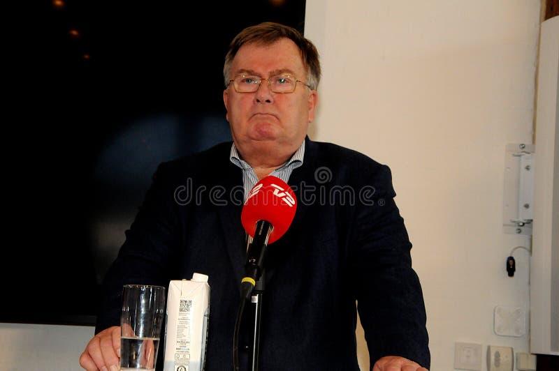 Copenhaghen/Danimarca 15 Novembre 2018 denmaks danesi di conferenza stampa del ministro di difesa di Frederiksen del hjort di _cl immagine stock libera da diritti