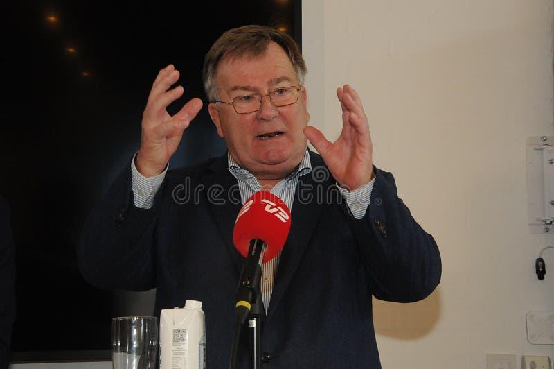 Copenhaghen/Danimarca 15 Novembre 2018 denmaks danesi di conferenza stampa del ministro di difesa di Frederiksen del hjort di _cl fotografia stock libera da diritti