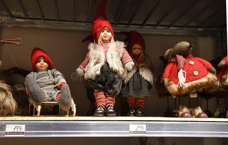 Copenhaghen/Danimarca 12 Novembre 2018 Oggetto di Vrius per i sants della decorazione di natale e l'albero di Natale e l'altro ge fotografie stock libere da diritti