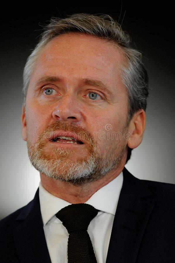 Copenhague/Danemark 15 Novembre 2018 Trois ministres du Danemark ministre danois d'Anders Samuelsen des affaires étrangères minis photos stock