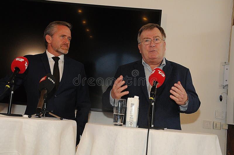 Copenhague/Dinamarca 15 En noviembre de 2018 Los tres ministros ministro danés de Dinamarca de Anders Samuelsen para los asuntos  foto de archivo libre de regalías