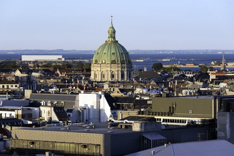 Copenhangen, de luchtmening van Denemarken van de horizon royalty-vrije stock foto's