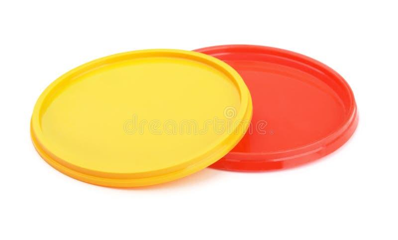 Coperchi di plastica immagine stock