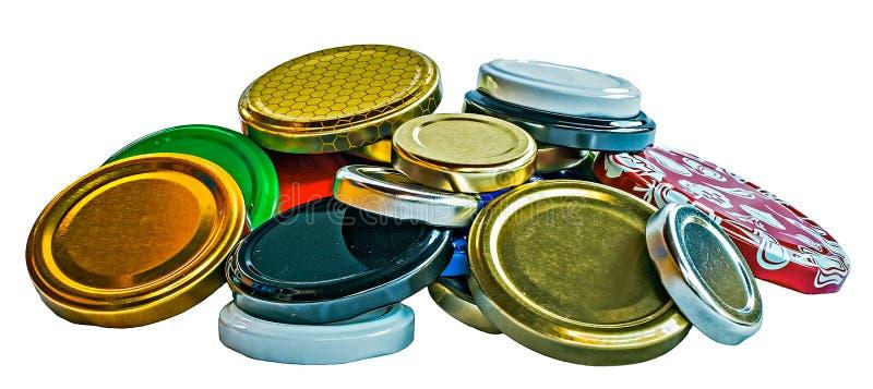 Coperchi metallici per i barattoli immagini stock libere da diritti