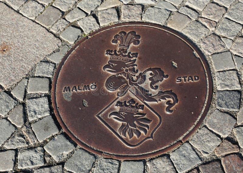 Coperchio della botola della città di Malmo fotografia stock libera da diritti
