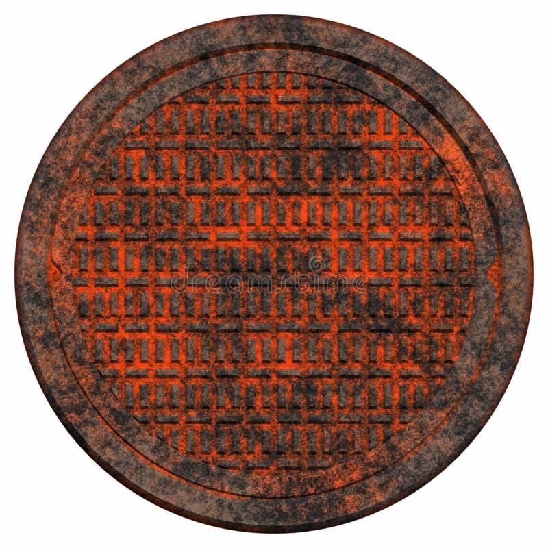 Coperchio di botola arrugginito illustrazione di stock