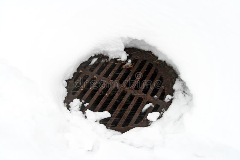 Coperchio di botola in neve bianca immagine stock libera da diritti