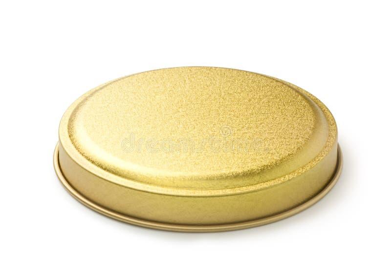 coperchio dorato del metallo del barattolo fotografia stock libera da diritti