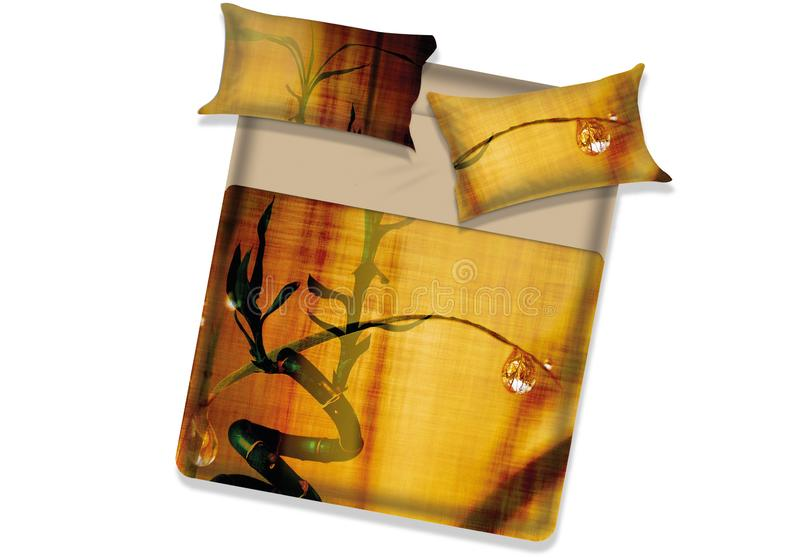 Bed cover with rain drop stock photography