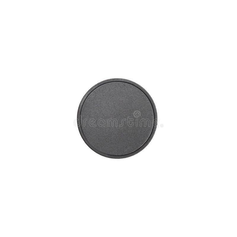 Coperchio nero di plastica di imballaggio isolato su fondo bianco Barattolo di plastica per la vista superiore dei cosmetici fotografia stock