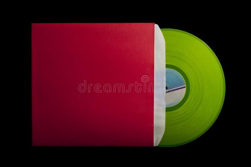 Coperchio rosso con vinile verde fotografia stock