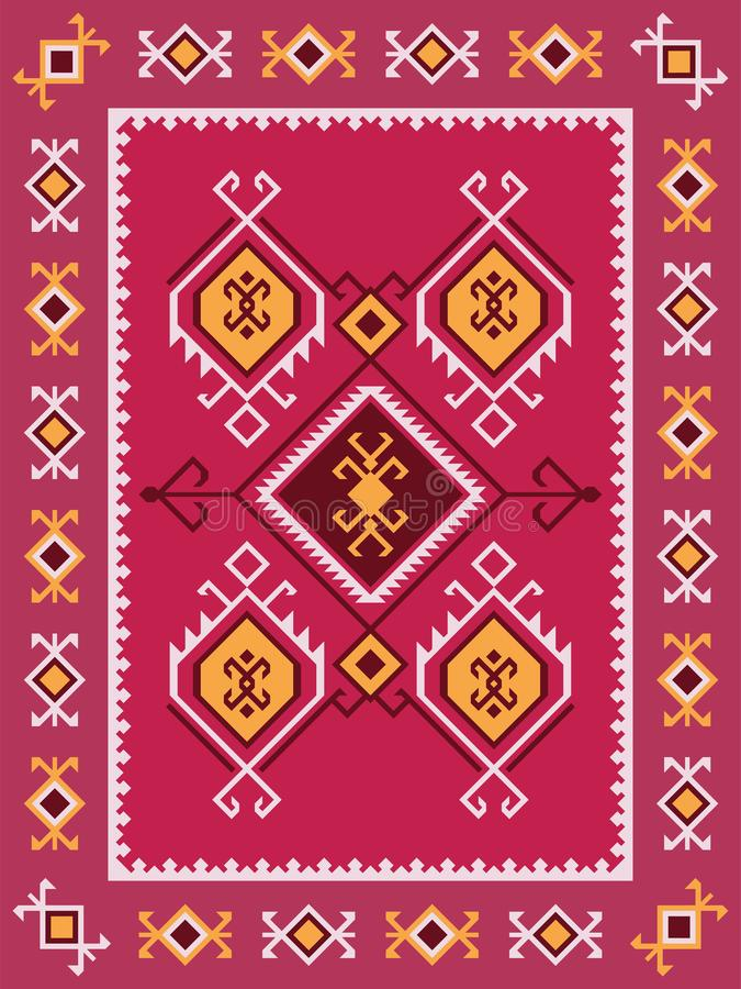 Coperta tribale variopinta del kilim con il picchiettio geometrico piega tradizionale illustrazione di stock