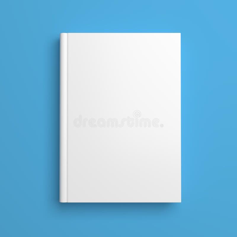 Copertina di libro in bianco bianca isolata sul blu illustrazione vettoriale