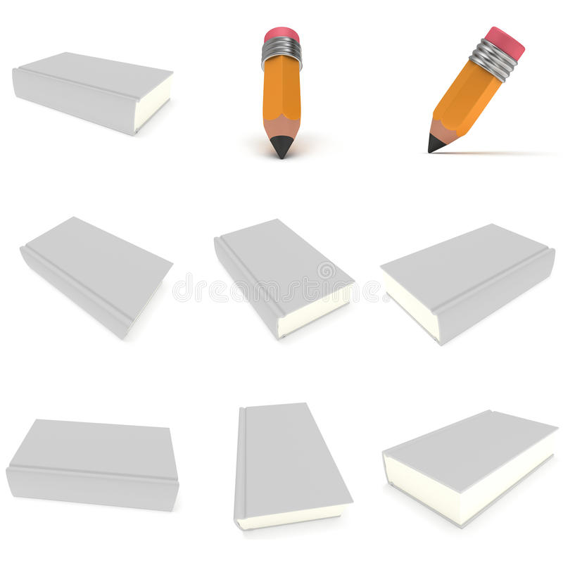 Copertina di libro in bianco sopra fondo e la matita bianchi illustrazione di stock