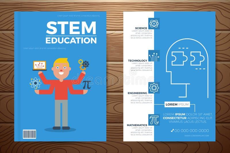 Copertina di libro di istruzione del gambo e modello dell'aletta di filatoio illustrazione di stock