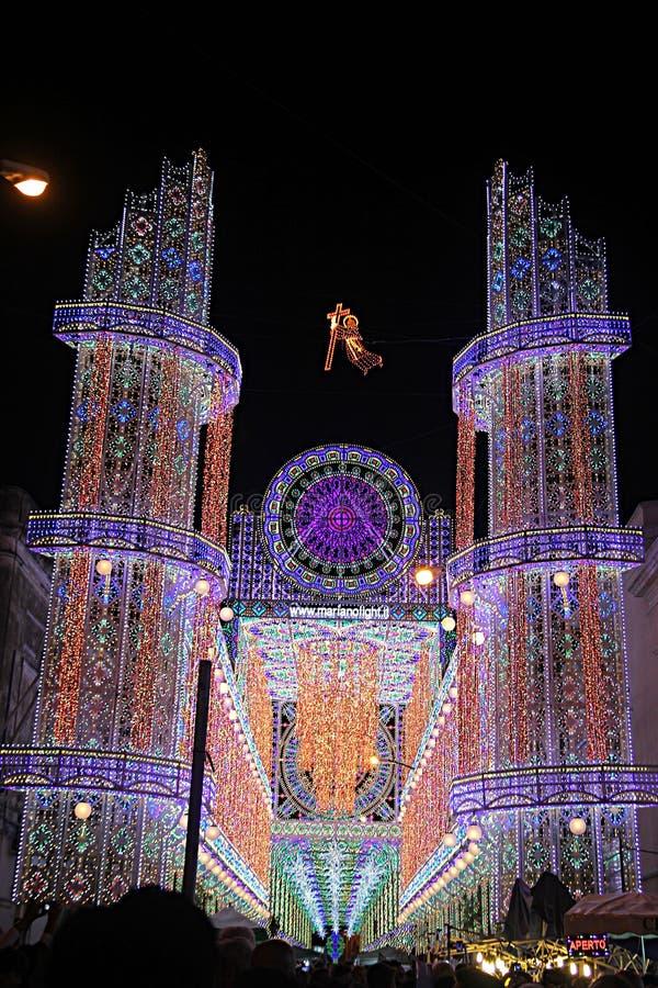 Copertino festival. The light festival dedicate to saint joseph at copertino in italy stock image