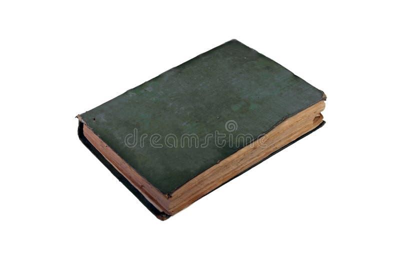 Copertura antica di verde del libro su fondo bianco con il percorso di ritaglio immagini stock libere da diritti