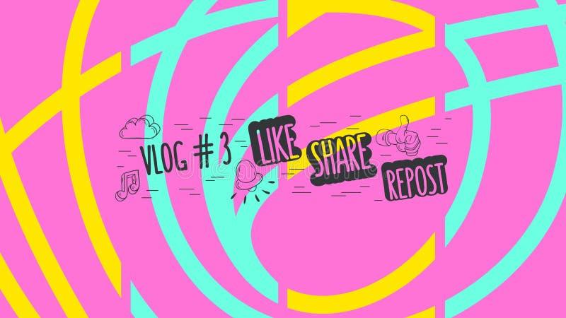 Copertura astratta per il grafico di vettore sociale di Manica di media del video blog di Vlog royalty illustrazione gratis