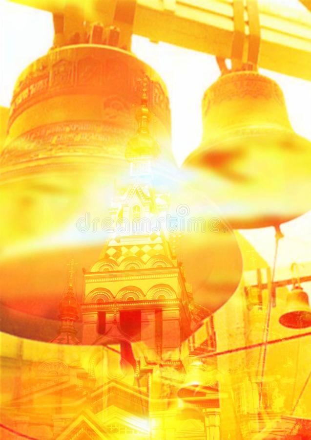 Copertura collaterale 'Fede, chiesa, campana e cupole' fotografie stock