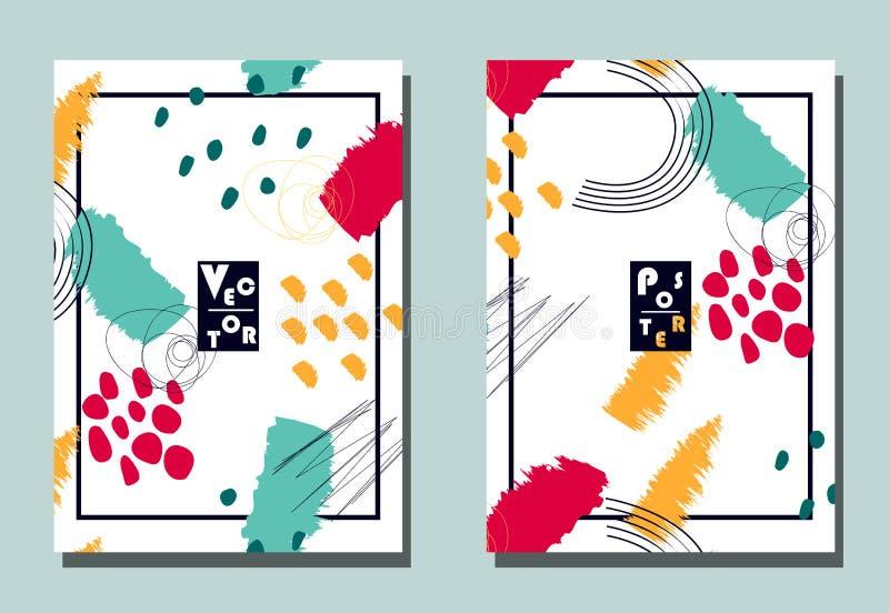 Copertura con gli elementi grafici - forme astratte Due alette di filatoio moderne di vettore nello stile all'avanguardia del col illustrazione di stock
